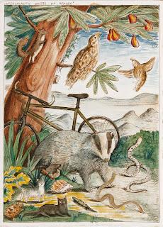 Egg tempera, heaven, badger, snake, bycicle, cat, turtle