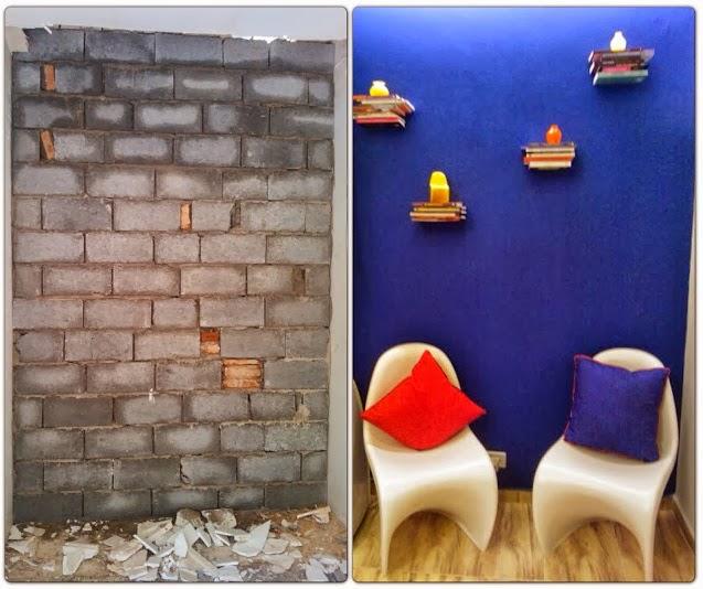 antes e depois - estante de livros flutuante - sala de leitura Senac - Santos Arquidecor 2013