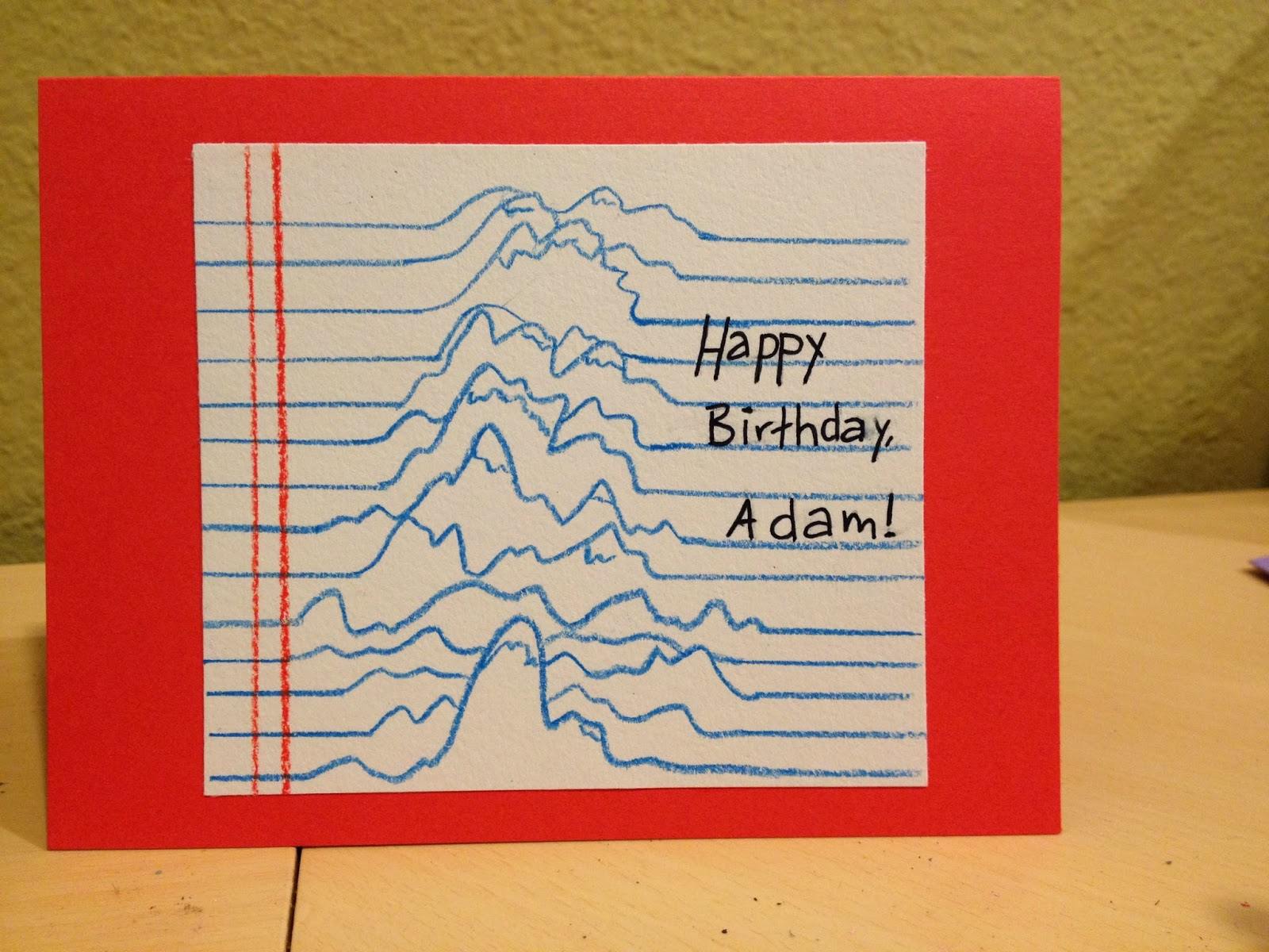 Debbie dots greeting card blog lined paper mountains birthday for adams birthday card i created some lined paper where the lines themselves rise up to become mountains this is such an interesting idea m4hsunfo