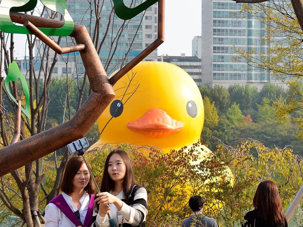 Selfie bomb rubber duck