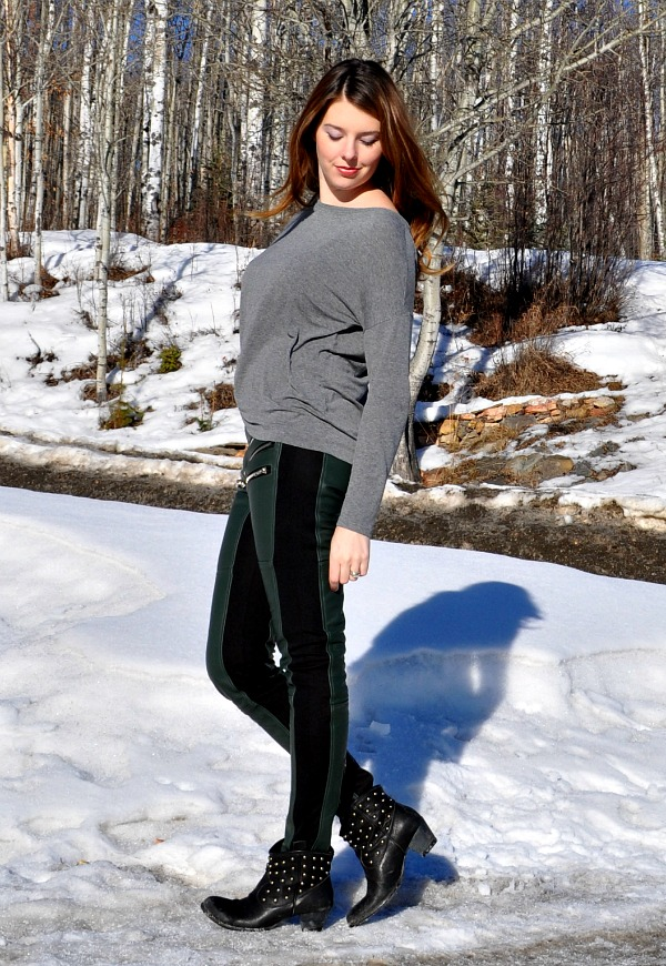 Green Leather Pants with Zippers