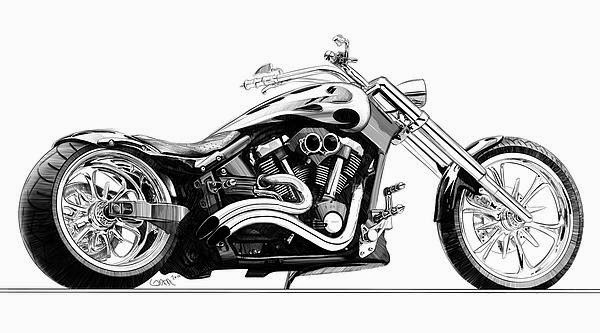 Chopper Motorbike Drawing Car And Bike Drawing