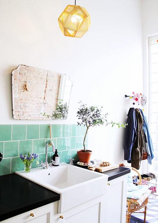 Azulejos verde para baño