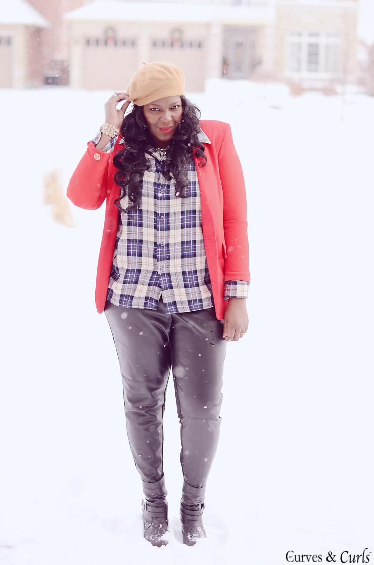 Plus size fashion clothing blog- Outfit inspiration plaid and leather