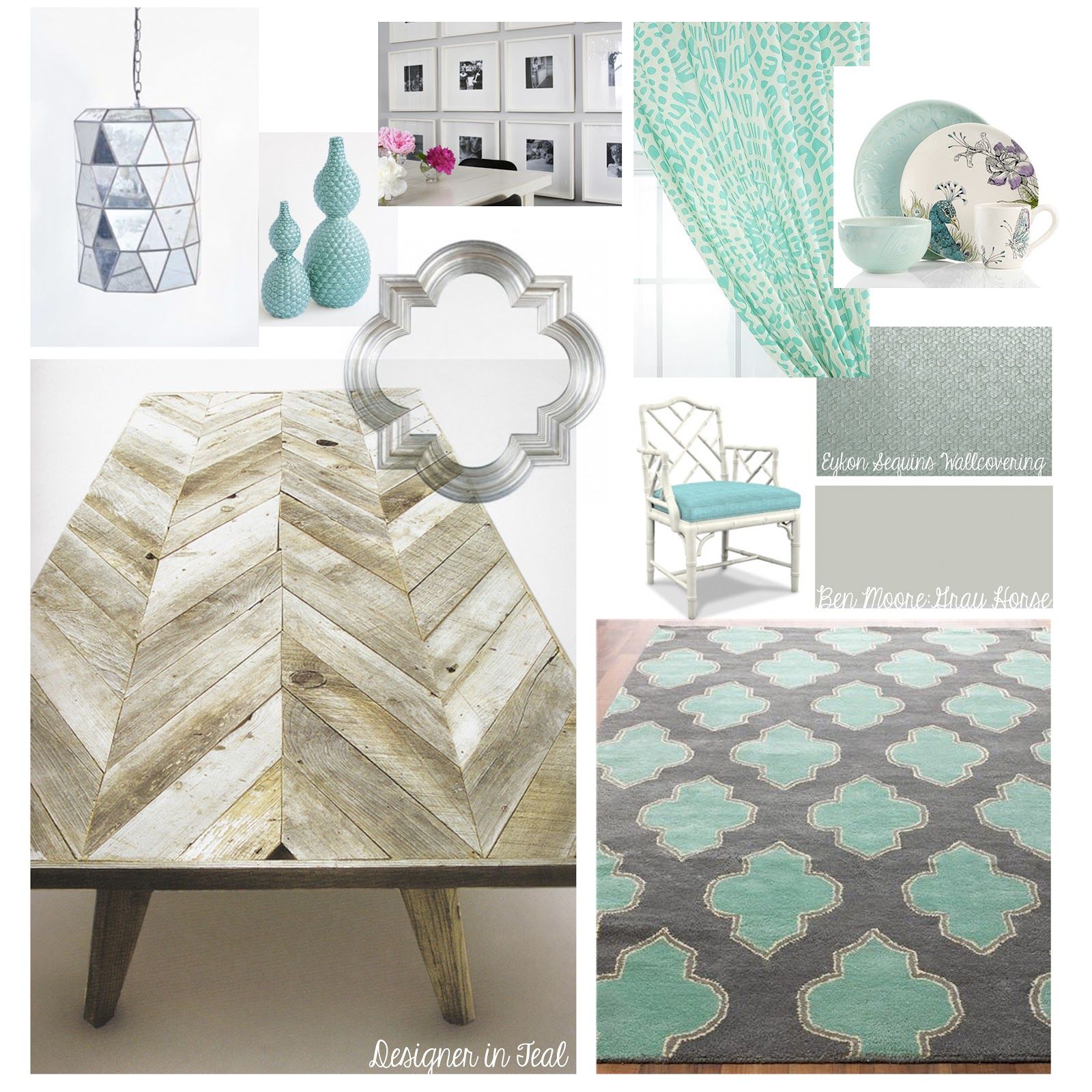 Teal Dining Room Mood Board