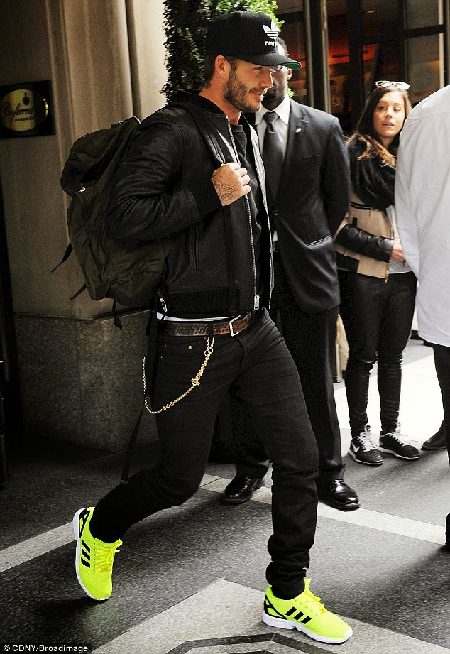 Wear It Like Beckham: David Beckham travels with Prada Backpack