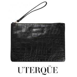 Uterque black croc wristlet clutch