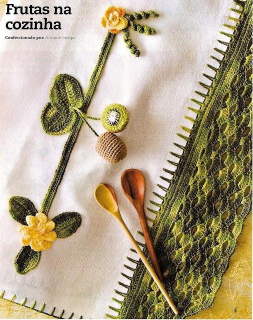 barrado em croche com kiwi e flores na cozinha em croche com receitas