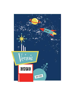 1960s era space illustration save ferris venus cafe