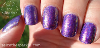 Purple Sparkly, Shimmery, Holographic Nails