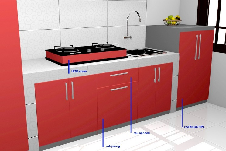 Kitchen set lurus tema warna merah dengan pintu hidrolis for Kitchen set warna putih