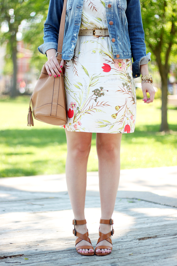 Zara Block Heel Strap Sandal, Old Navy Bucket Bag, Linea Pelle Belt