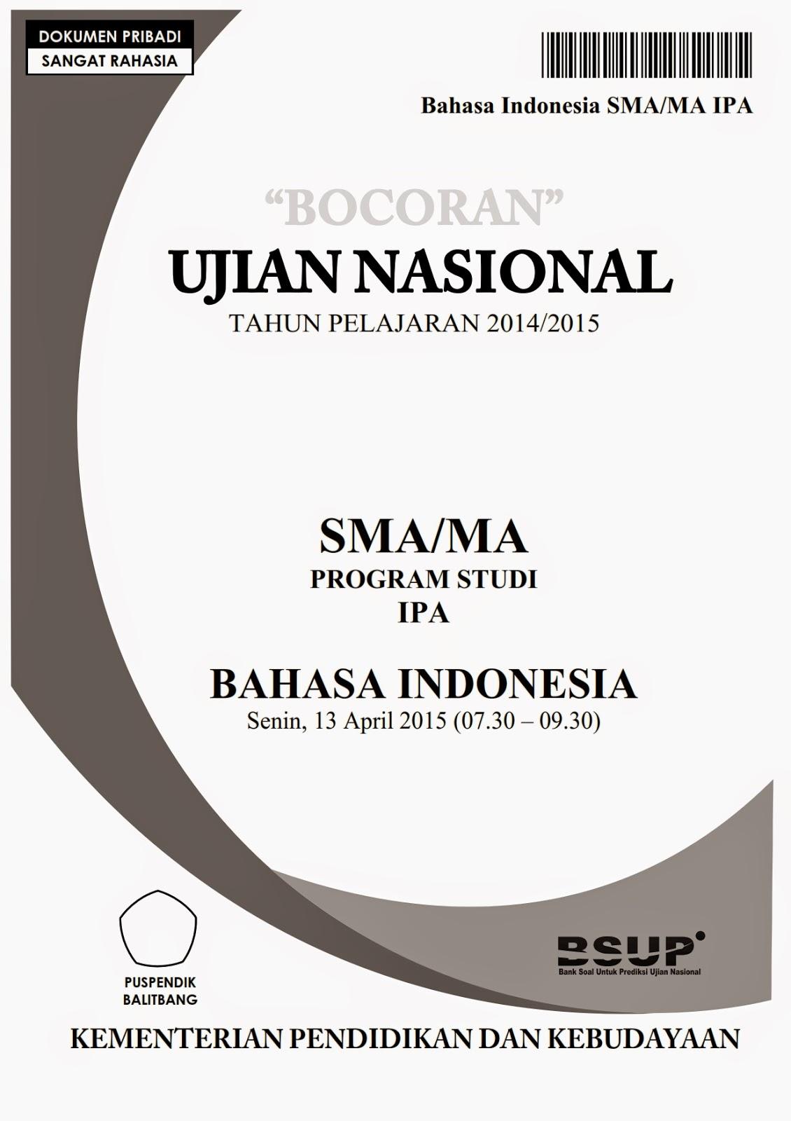 Bocoran Soal Un Bahasa Indonesia Sma 2015