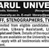 Parul University Recruitment 2015 For Library Staff, Stenographer, Typist, Clerk | www.paruluniversity.ac.in