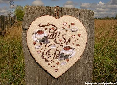 Кофейное сердце Isabelle Vautier, Изабель Вотье, сердце, вышивка, кофе
