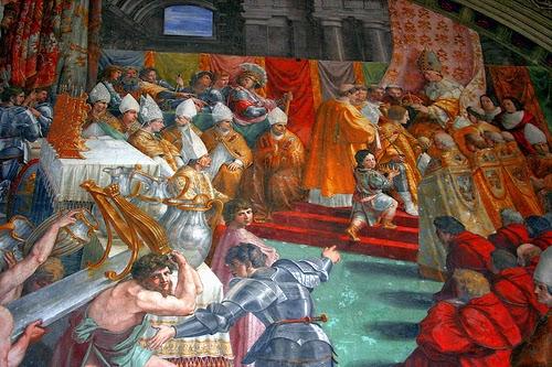 Pintura de la Coronación de Carlomagno de Rafael Sanzio que se encuentra en el Vaticano.