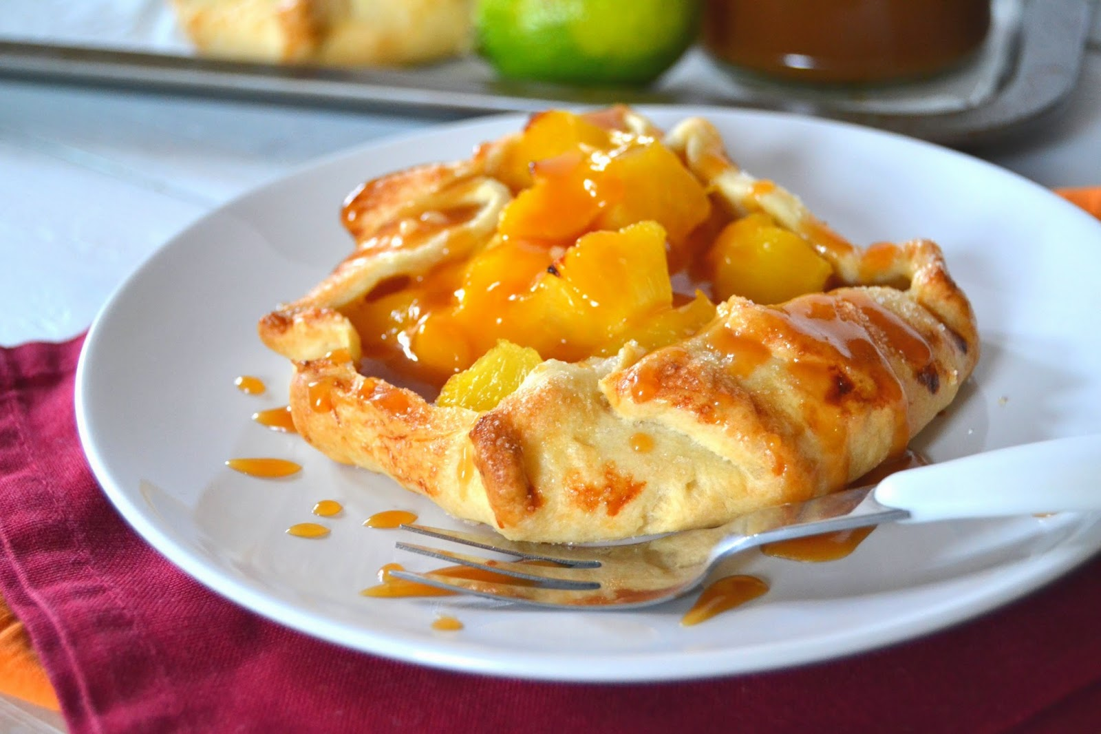 Mango & Pineapple Galette with Limed Caramel Sauce