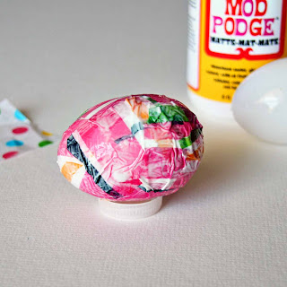 Making Tissue Paper-Covered Easter Eggs by SweeterThanSweets