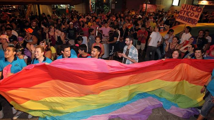 Pessoas participam de Marcha do Orgulho LGBT em Assunção, no Paraguai (Foto: Andrés Cristaldo/Efe)
