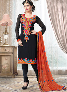 latest designer anarkali churidar suit in awesome black color