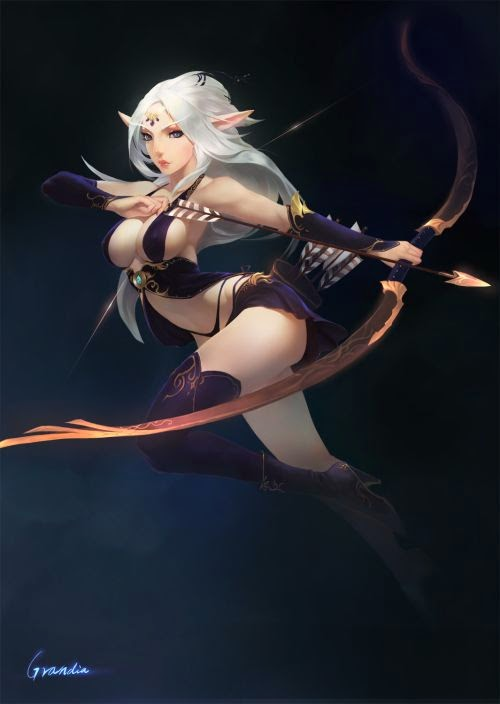 Shengyuan Lee grandialee illustrations fantasy anime Female archer elf