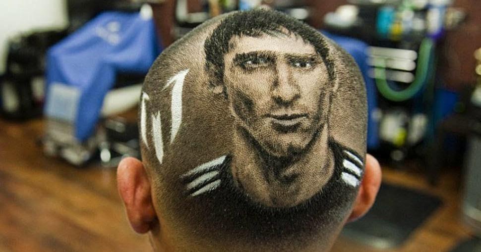 Foto La cara de Messi en un corte de pelo  Muchas Fotos