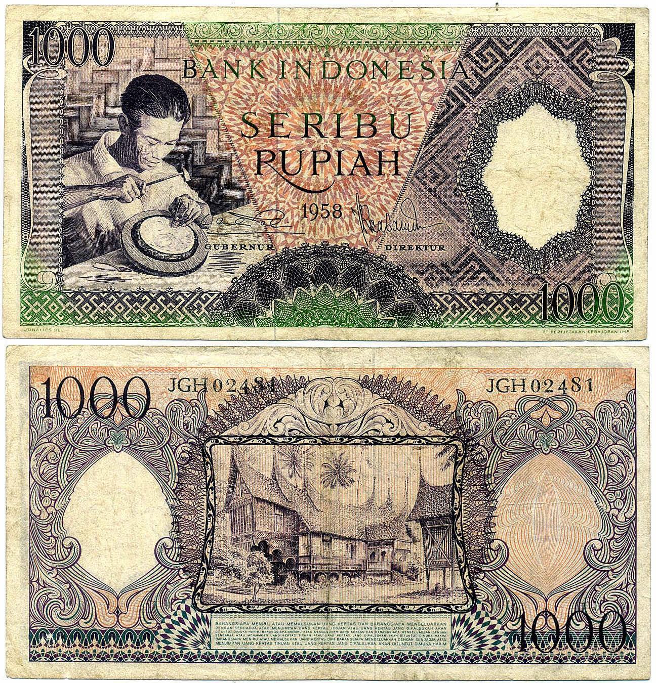 uang kuno Seri pekerja tangan tahun 1958 pecahan 1000 rupiah Ungu