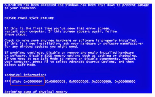 What causes blue screen windows and the solution
