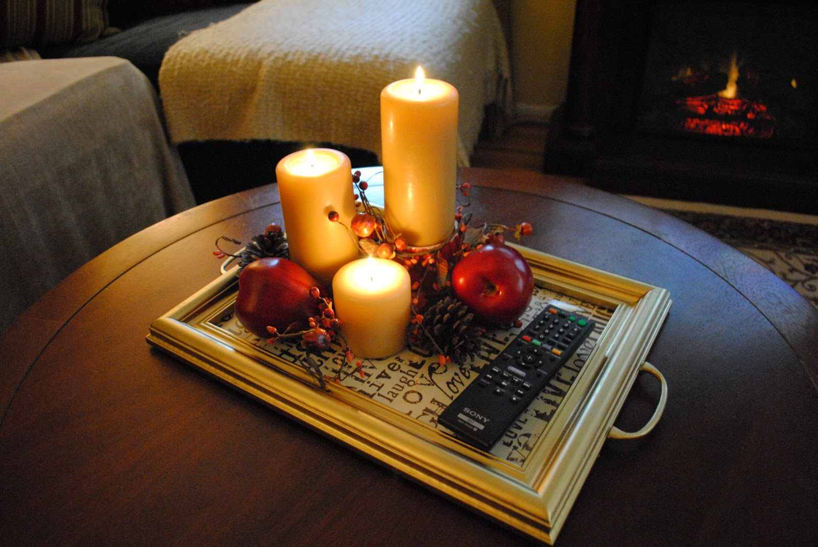 Fall winter coffee table tray display decor pinterest coffee table tray table tray and Decorative trays for coffee table