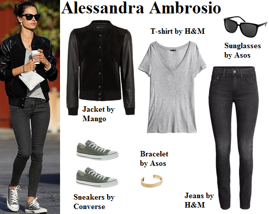 alessandra ambrosio, victoria's secret, style, bomber jacket, converse