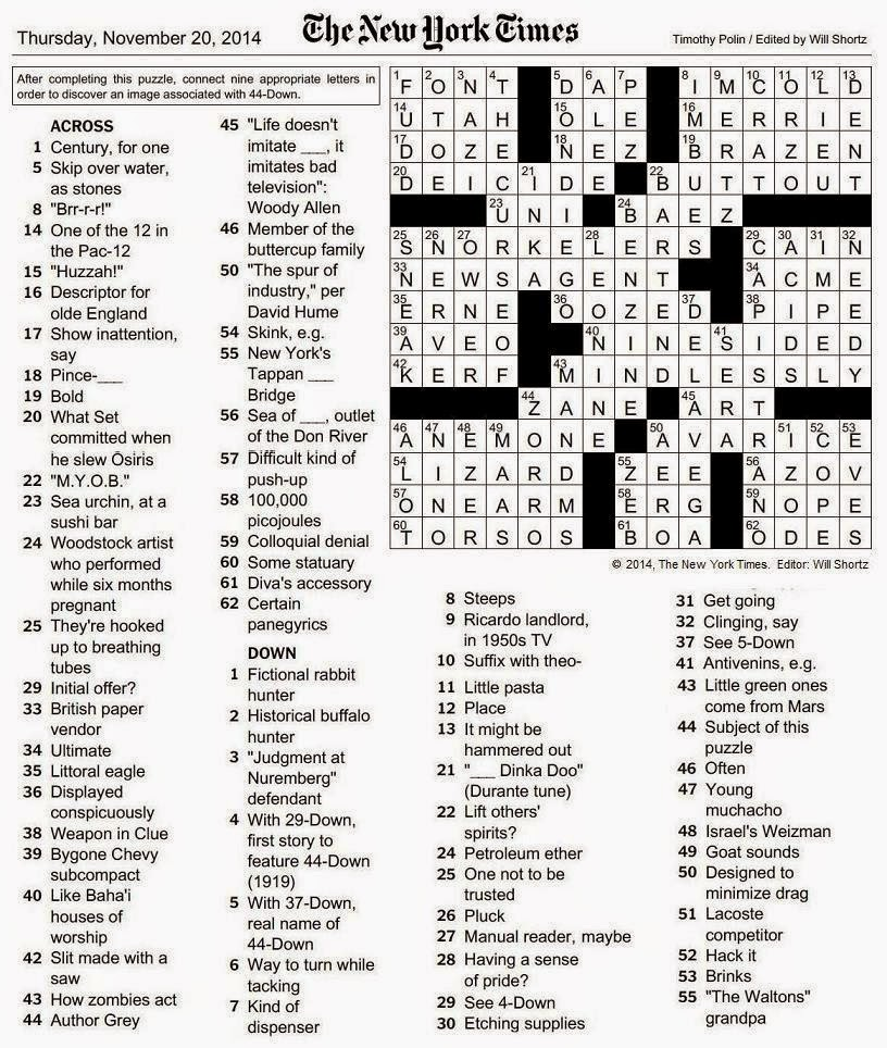 The New York Times Crossword In Gothic Z
