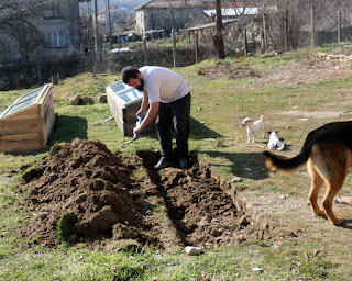 Digging out the trench ready for the raised bed