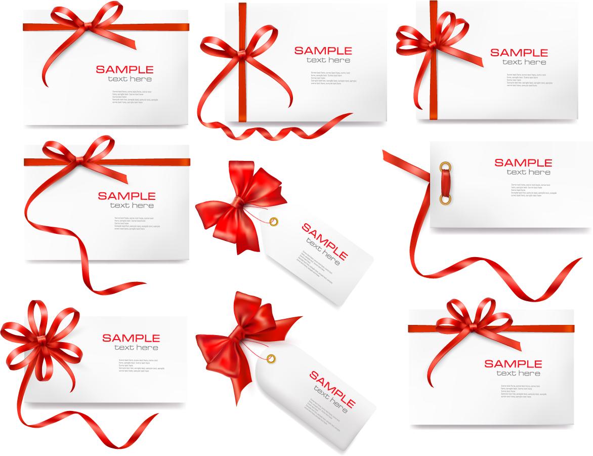 赤いリボン飾りのカード red ribbon card イラスト素材