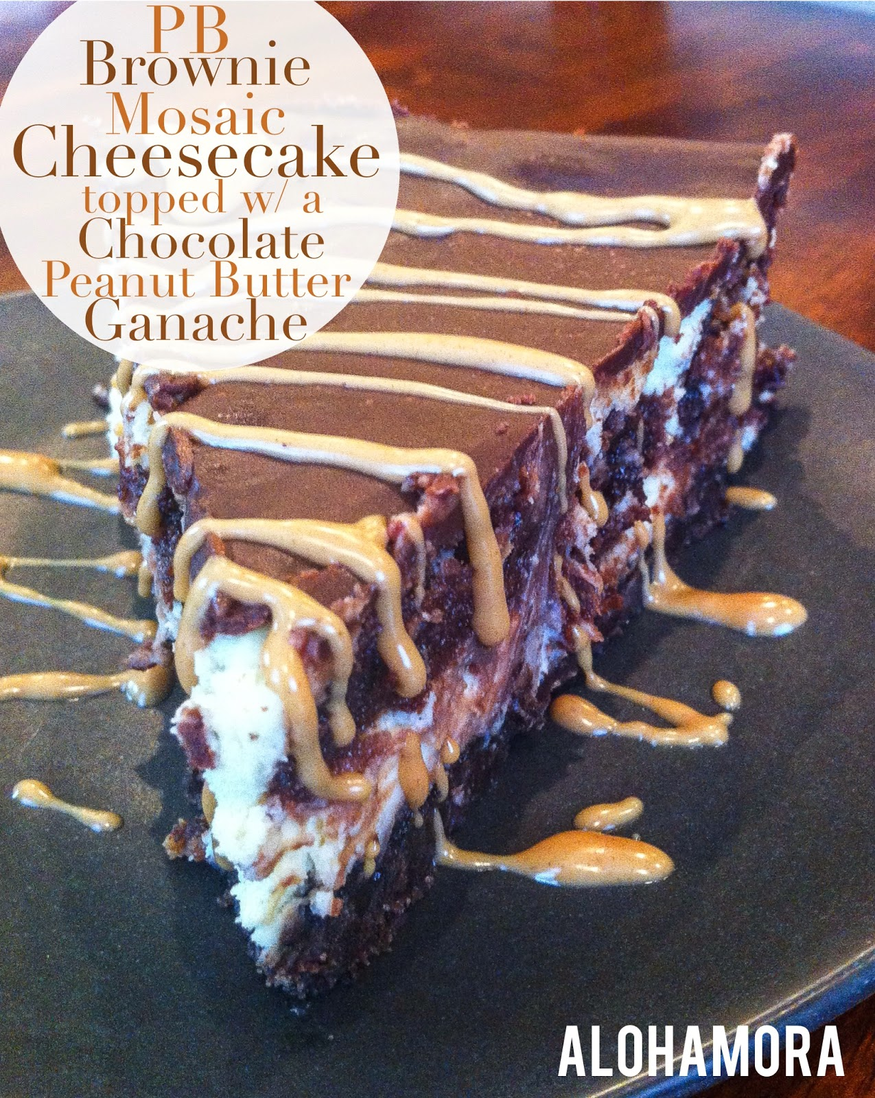 Peanut Butter Brownie Mosaic Cheesecake with a Chocolate Peanut Butter Ganache Glaze.  AMAZINGLY delicious! Alohamora Open a Book http://alohamoraopenabook.blogspot.com/