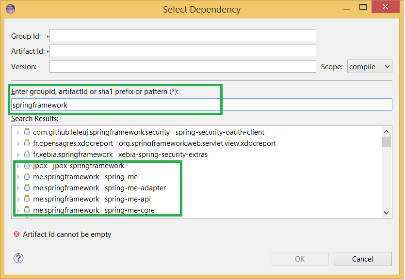 Maven Dependency Search is now working in Eclipse