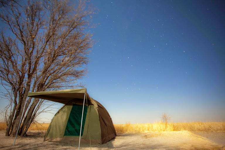 Mobile Camp site in Botswana under the stars