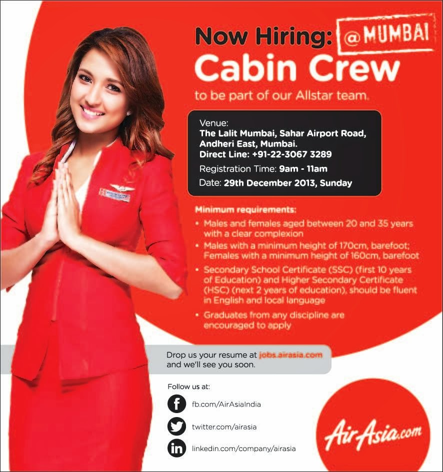 fly gosh: air asia india - cabin crew walk in interview ( mumbai )