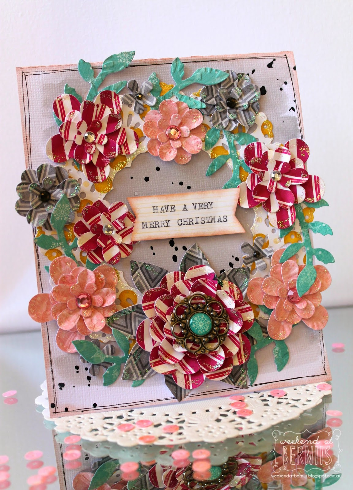 Wishing card by Bernii Miller using the BoBunny Candy Cane Lane collection and Couture Creations dies.