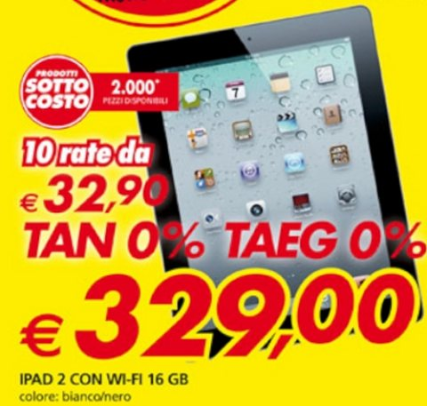Promozione con tasso zero su Tablet Apple iPad 2 16 GB