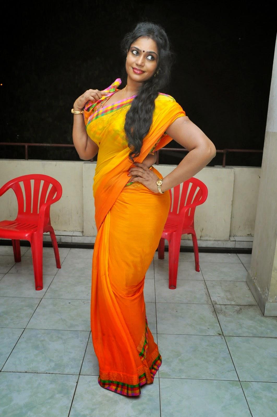 Jayavani in Yellow Saree at Andamaina Maya Audio Launch ...
