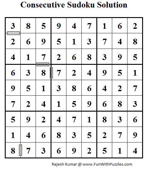 Consecutive Sudoku (Daily Sudoku League #60) Solution