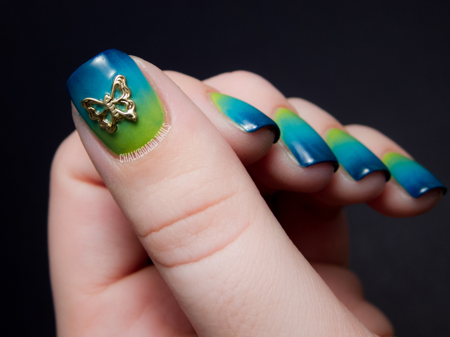Marsh Gradient and Butterfly Charm Chalkboard Nails Nail Art Blog