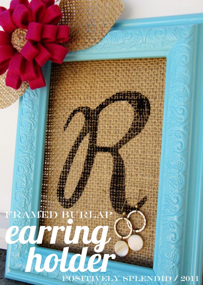 Framed burlap earring holder tutorial positively for Burlap crafts