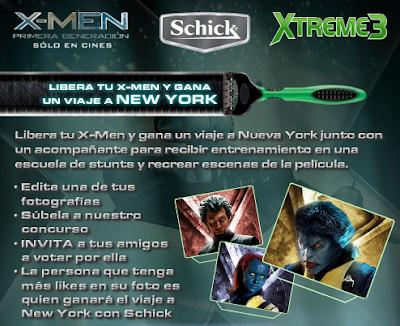 premios viaje Nueva york concurso Libera tu X-Men en Nueva York Facebook Schick X- Men Mexico 2011