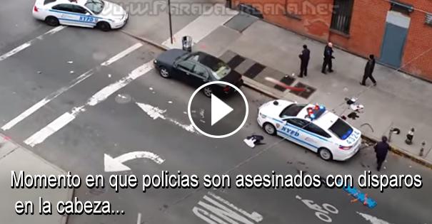 VIDEO - Momento en que dos policias son asesinado con disparo en la cabeza.