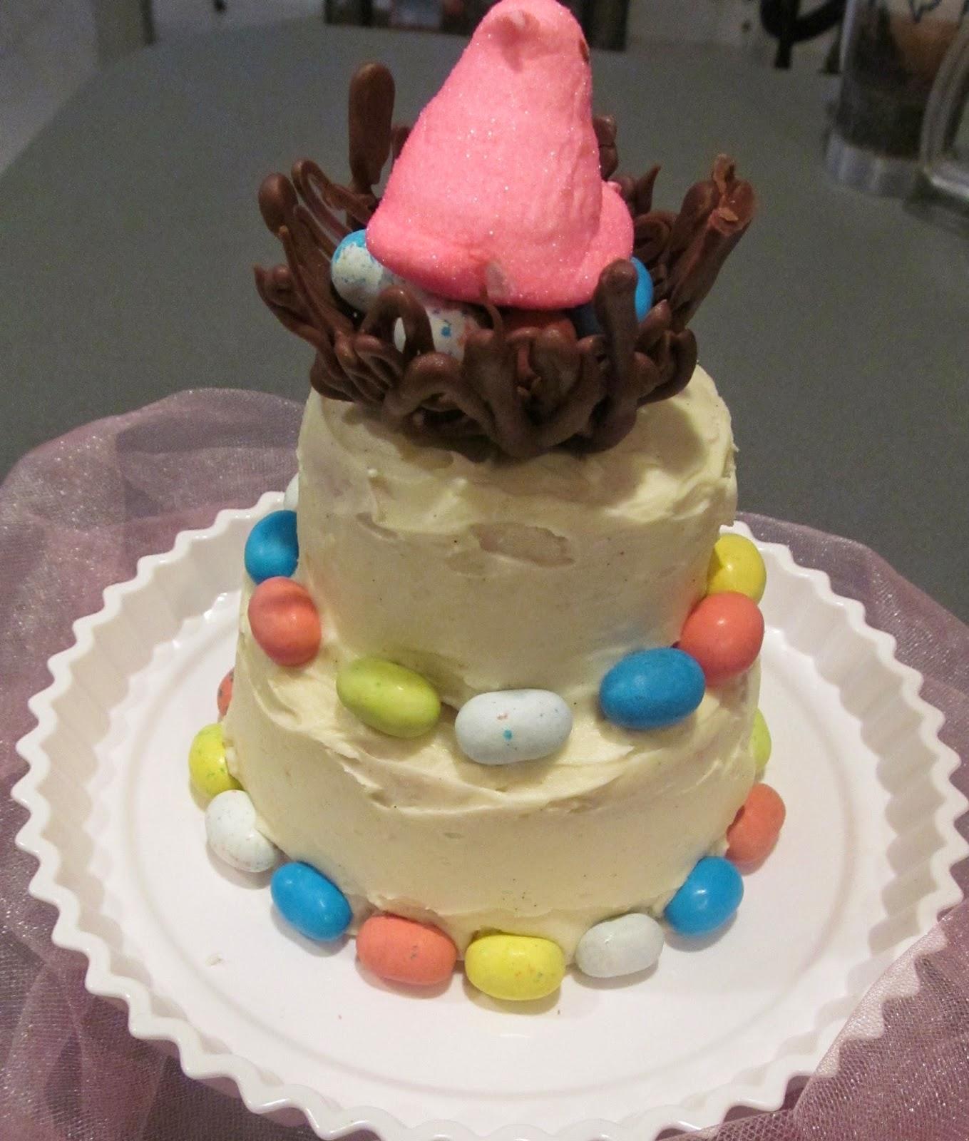 pink peeps cake