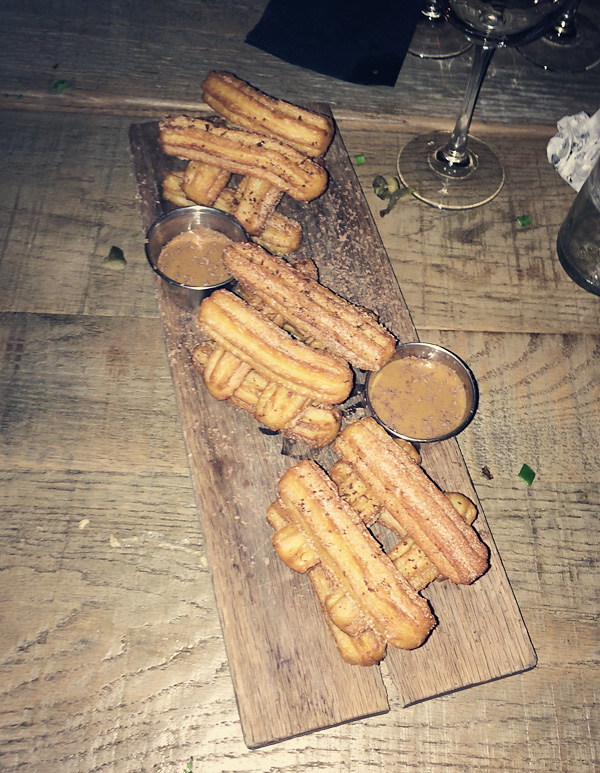 Churros at Saint Anejo Mexican Restaurant in the Gulch, Nashville Tennessee.