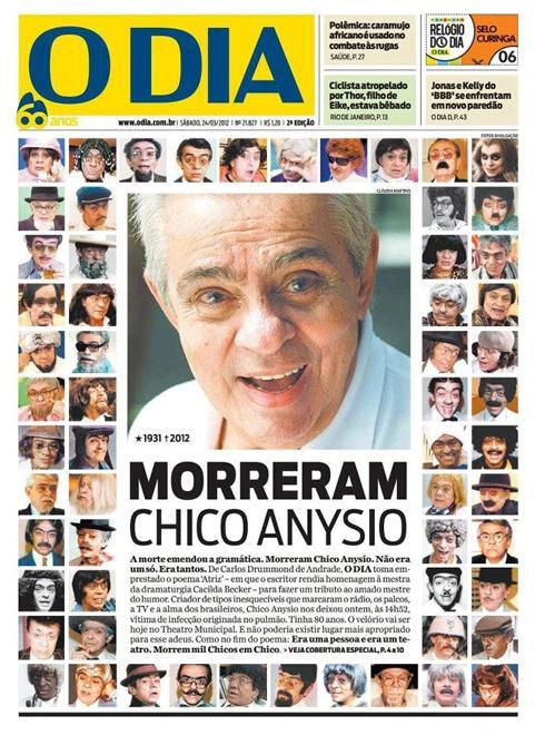 """""""Morreram Chico Anysio"""" - capa do jornal O Dia"""