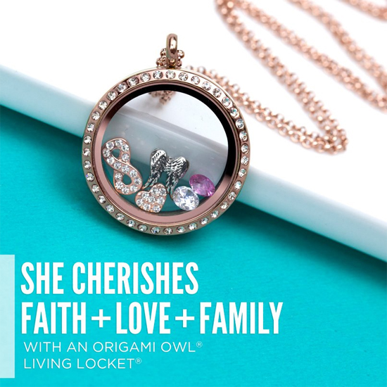 She Cherishes Faith + Love + Family Origami Owl Living Locket from StoriedCharms.com
