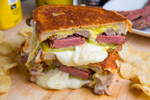 St Patrick S Day Corned Beef Cuban Grilled Cheese Sandwich
